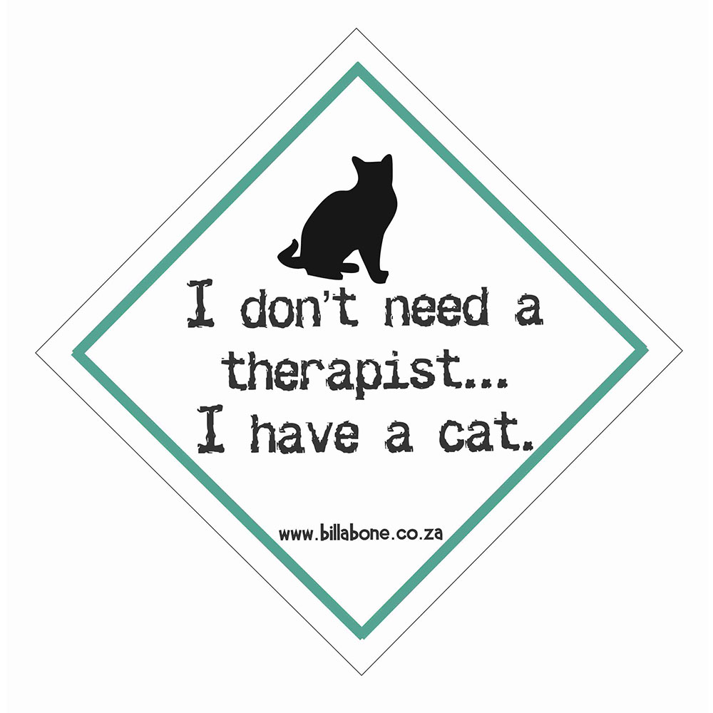 """Billabone - """"I don't need a therapist I have a cat"""" On Board Sign"""