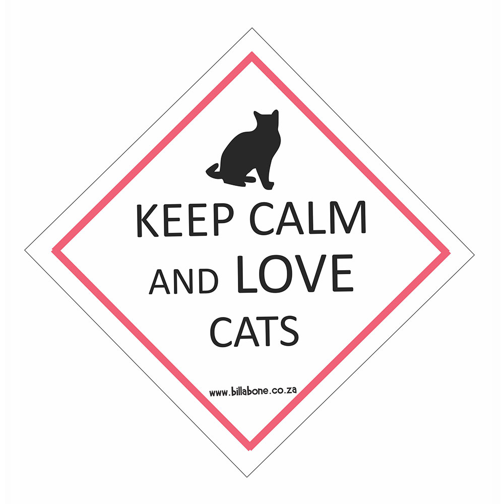 "Billabone - ""Keep calm and love cats"" On Board Sign"
