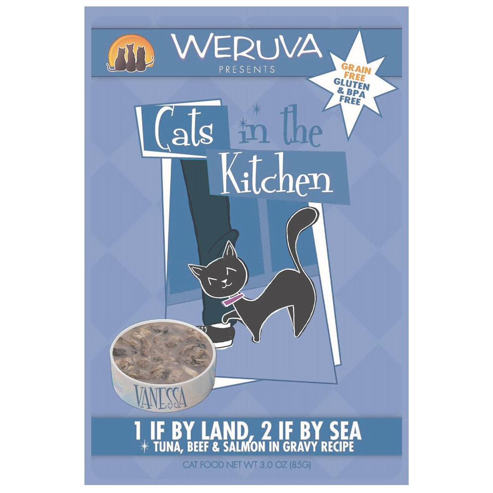 Weruva Cat in the Kitchen 1 if by land, 2 if by sea cat pouch