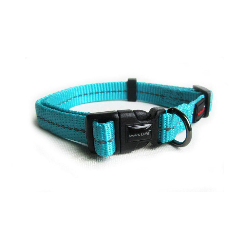 Reflective Supersoft Webbing Collar Turquoise