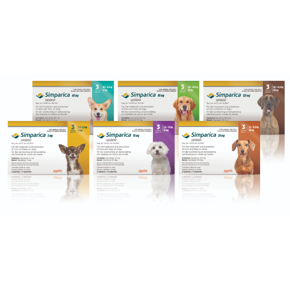 Simparica Sarolaner Chewable Tablets against Ticks and Fleas